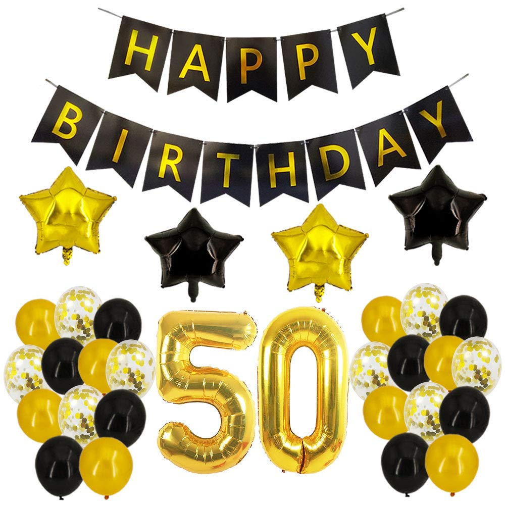 50th Birthday Decorations Number Balloons Banner Black Gold Party