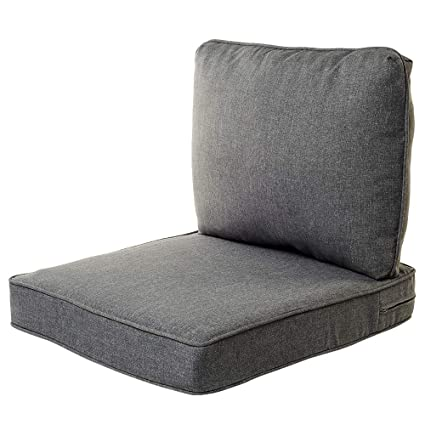 Quality Outdoor Living All Weather Deep Seating Patio Chair Seat And Back Cushion Set 23 Inch By 26 Inch Machine Grey