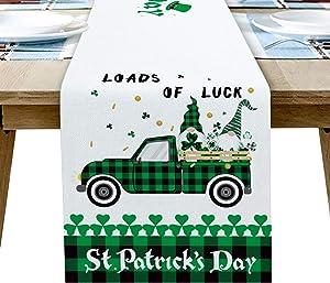 Infinidesign St.Patrick's Day TableRunner,CottonLinenHeatResistantTableRunners,DecorforKitchenLivingRoomHolidayParties14x72 inch Two Midgets on The Truck Green Celebrate