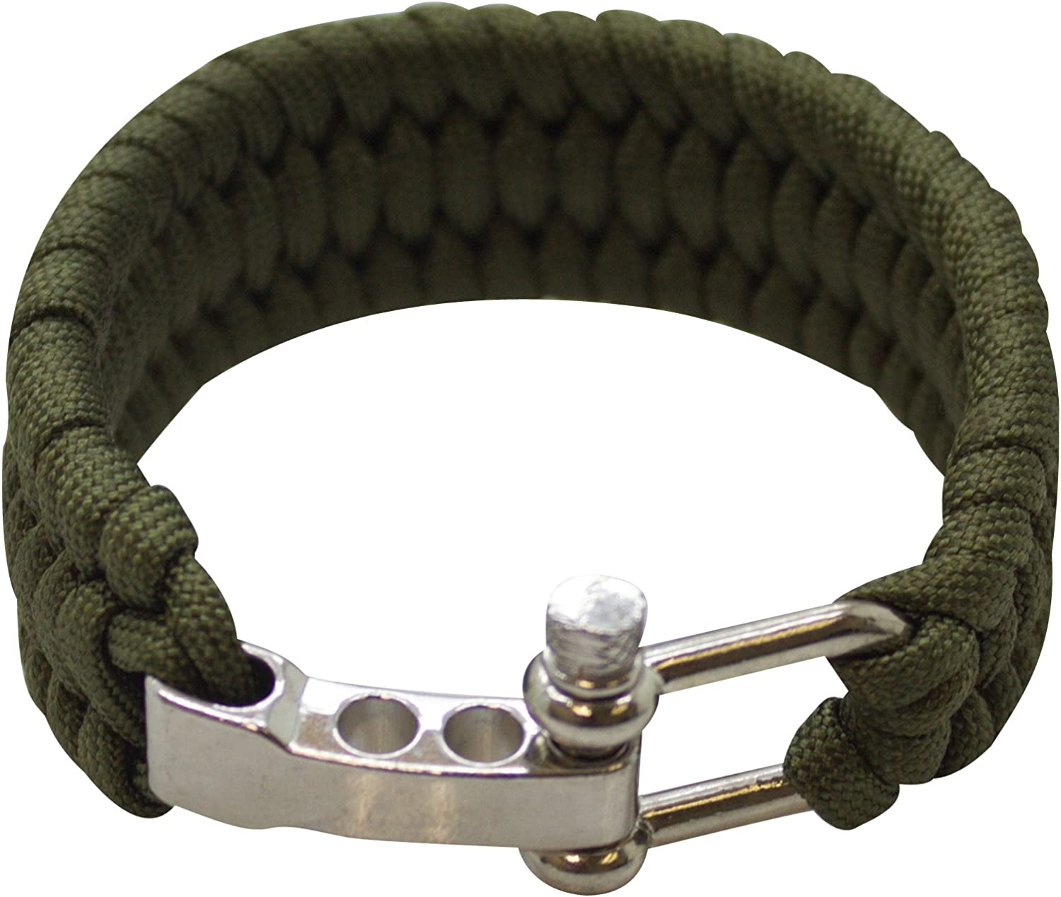 Southland Archery Supply SAS SurvivalParacordBracelet550lbs(Green with Steel Shackle Buckle)