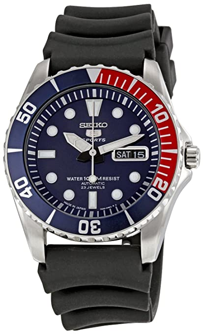 Amazon Com Seiko 5 Sports Automatic Blue Dial Blue And Red