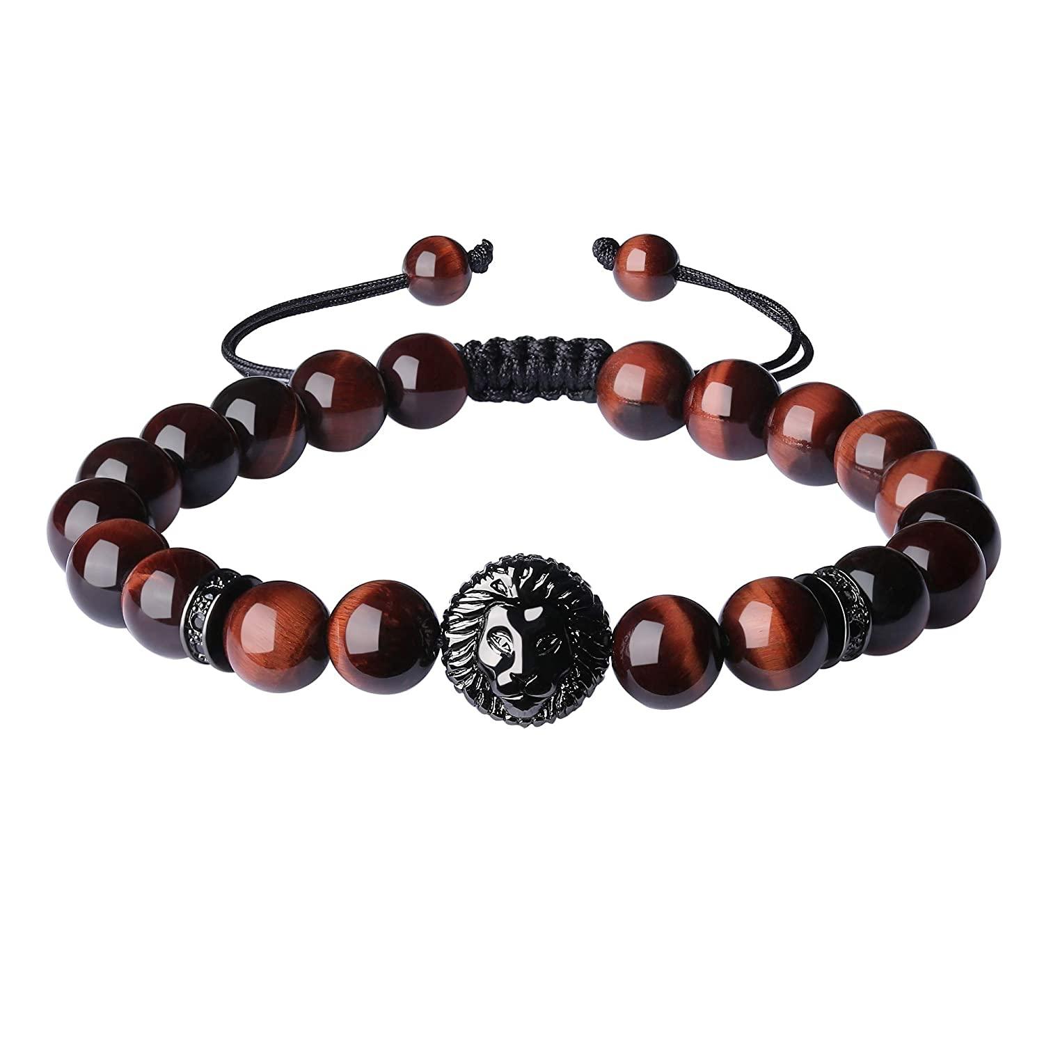 COAI 8mm Shamballa Inspired Semi Precious Stone Beaded Lion Charm Bracelet for Men Women N500-2