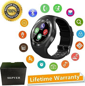 SEPVER Reloj Inteligente Smartwatch para iOS iPhone y Android Hombres Mujeres (Negro)