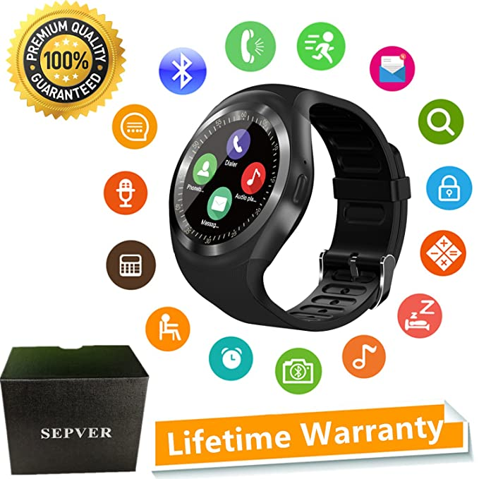 SEPVER Smart Watch Round Bluetooth Smartwatch with SIM Card Slot Compatible with Samsung LG Sony HTC Huawei Google Xiaomi Android Smart Phones for ...