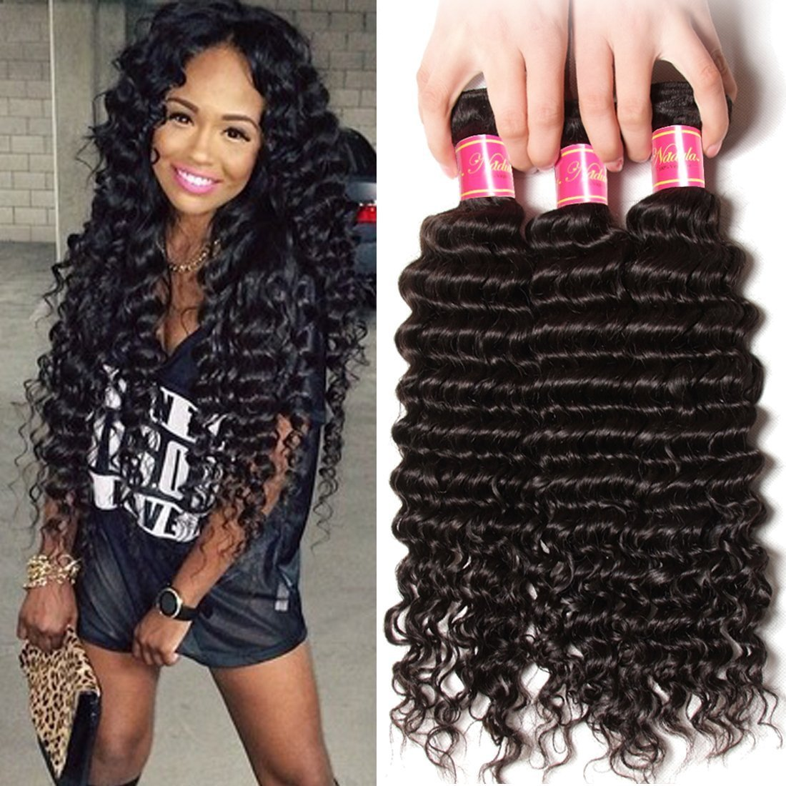Nadula 6a Remy Virgin Brazilian Deep Wave Human Hair Extensions Pack of 3 Unprocessed Deep Wave Weave Natural Color Mixed Length 16inch 18inch 20inch by Nadula (Image #1)