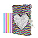 """VIPbuy Magic Reversible Sequin Notebook Diary Lined Travel Journal with Lock and Key for Kids Girls, Size A5 (8.5"""" x 5.5""""), 78 Sheets, Rainbow to Silver"""