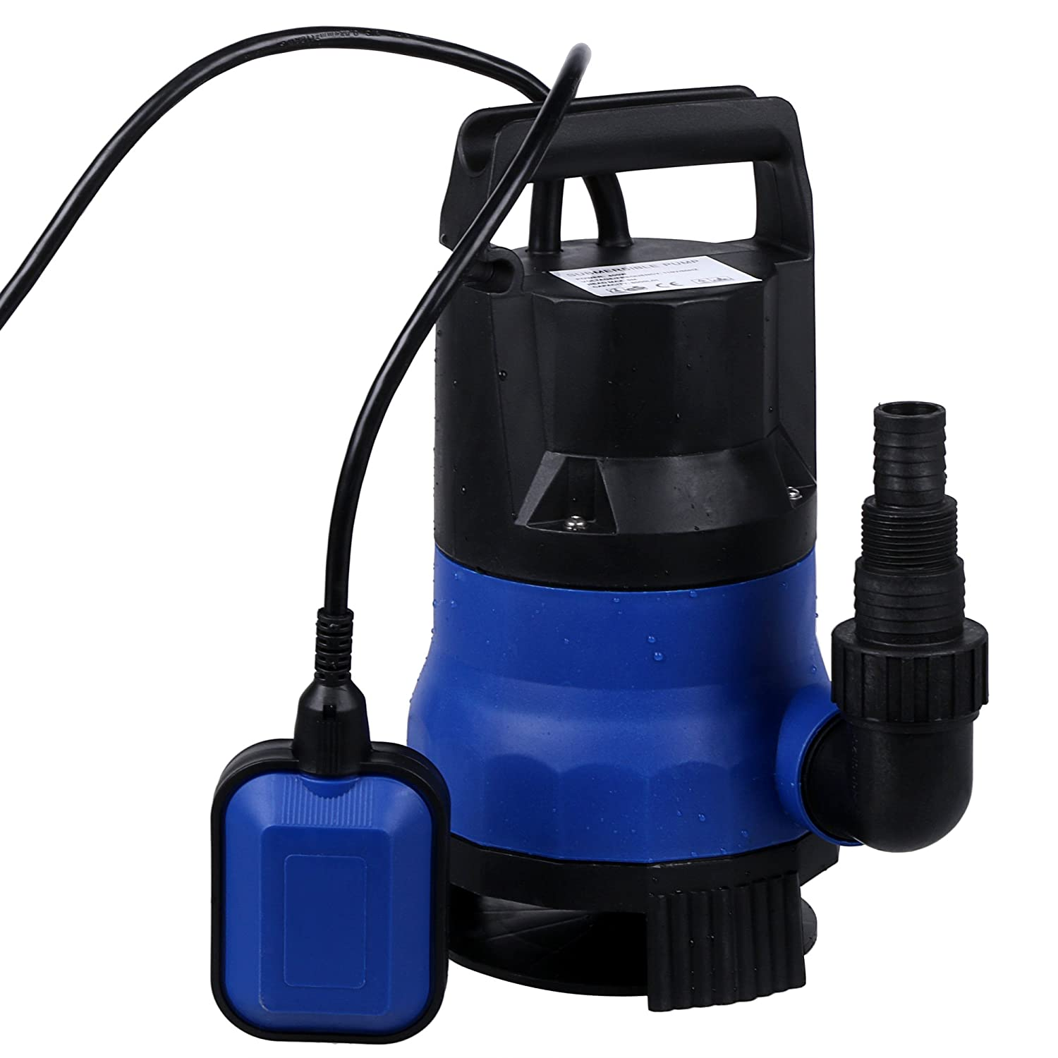 Ruyiot Sump Pump 1/2HP Submersible Clean Dirty Water Pump For Swimming Pool Drain (Blue)