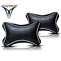 Kozdiko Black Cushion Pillow Dotted Car Neck Rest Set of 2 Pcs Universal for All Cars