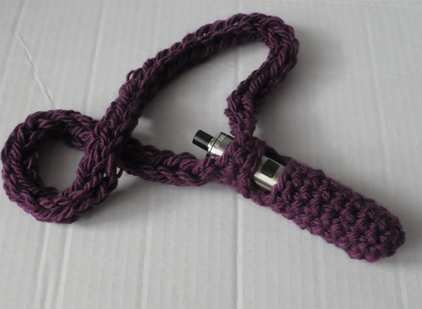 Handmade Chunky e-cig Holder Lanyard Stretchy Pouch Vaping Accessory - Damson