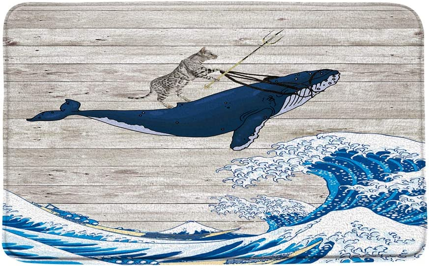 """Sunhe Print Microfiber Memory Foam,Funny Cat Riding Whale with Japanese Great Waves on Rustic Wooden Creative Soft Home Office Door Bathroom Mat/Bath Rugs - Non Slip,19.7""""X31.5"""""""