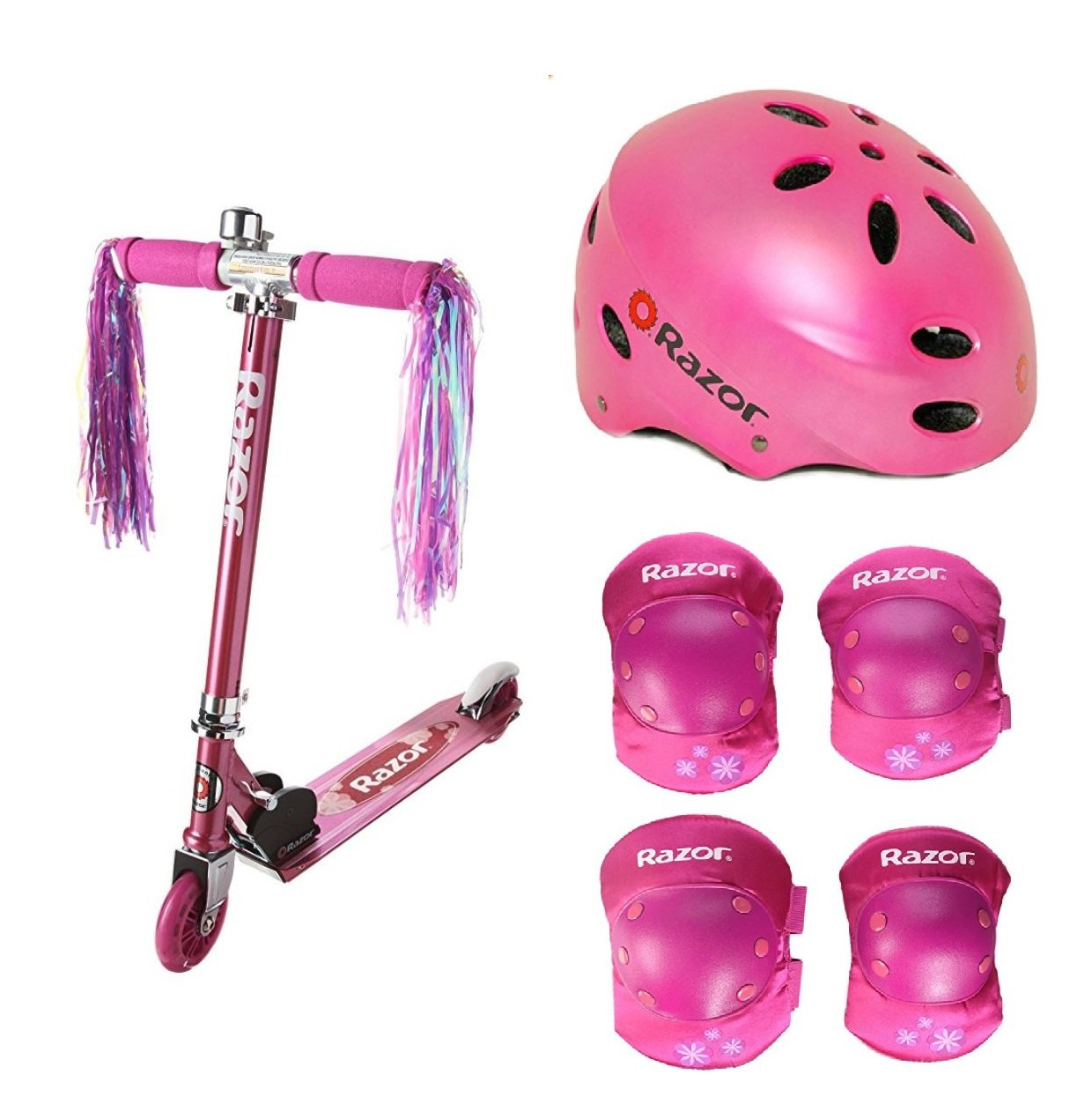 Bundle of 3 includes: Pink Girls Razor A Kick Scooter, Elbow and Knee Pad Set, Sport Helmet