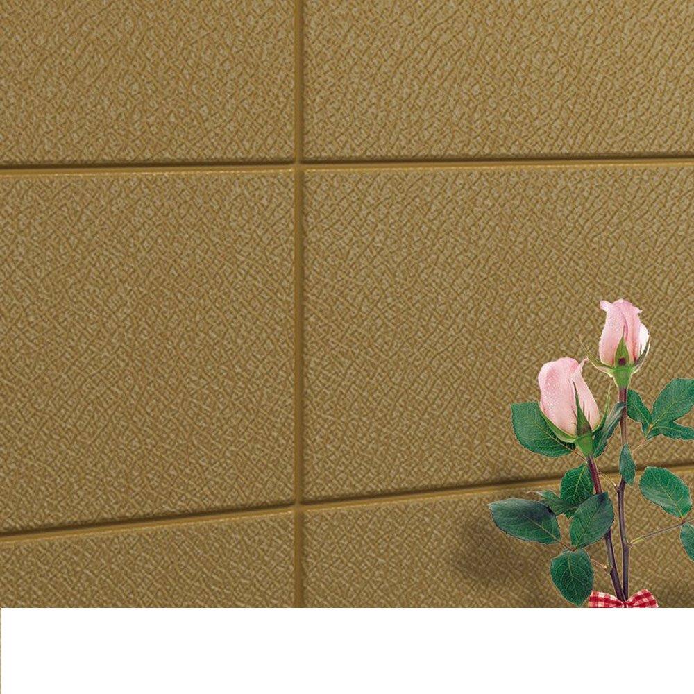 YETUGE 壁紙 木目リメイクシート 70cm×30cm 発泡スチロール 軽量レンガシール 壁紙シール アクセントクロス ウォールシール はがせる 壁シール B07BTJDYS7 四十枚|ゴールド ゴールド 四十枚
