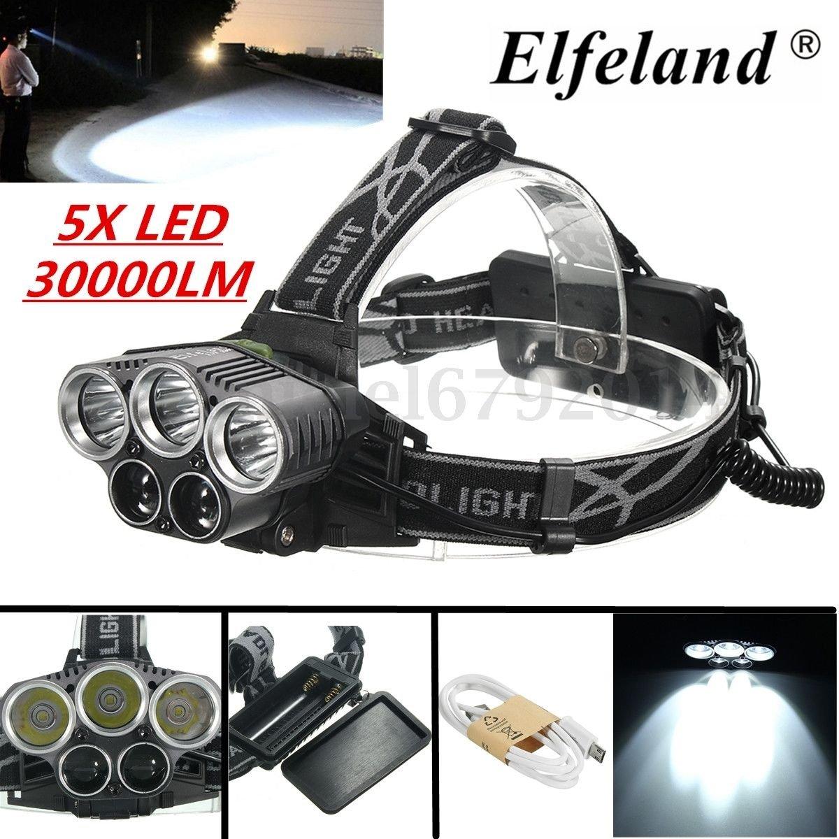 Vibrant Globe Bunte, Elfeland 30000lm 5 x T6 18650 LED-Scheinwerfer, wiederaufladbar über USB, Stirnlampe