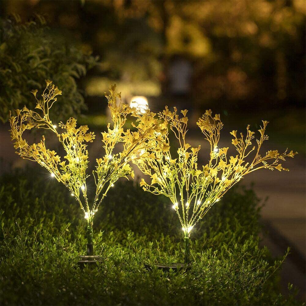Solar Lights Outdoor - Solar String Lights 2 Pack - New Upgraded Solar Garden Lights, Brighting Rape Solar Flower Lights for Patio,Yard Decoration, Bigger Flower and Wider Solar Panel (Yellow)