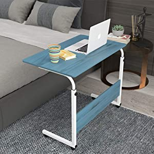 ALIPC Foldable Mobile Small Computer Desk,Height-Adjustable Laptop Desk with Wheels Durable Convenient to Read Study Corner Table for Sofa Bed-d 80x50cm(31x20inch)