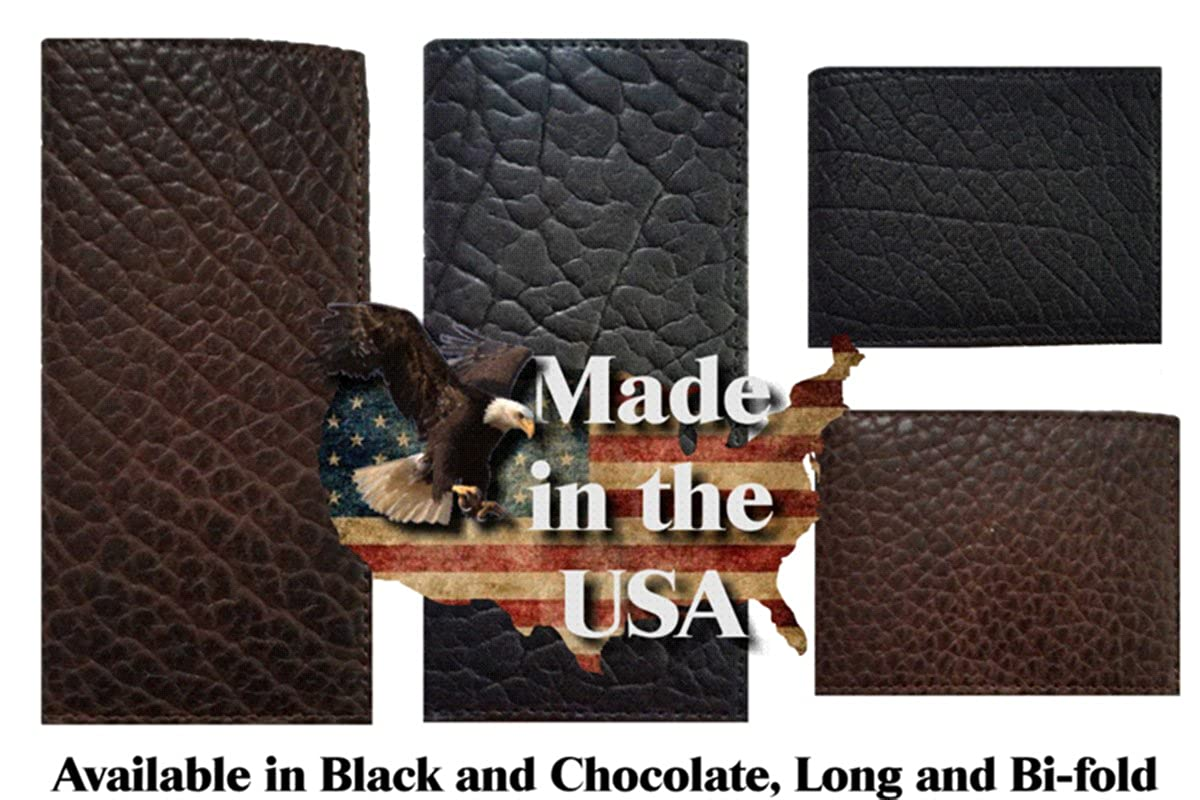 Proudly MADE IN THE USA Custom Waving Flag American Buffalo Hide Long Black Checkbook Wallet