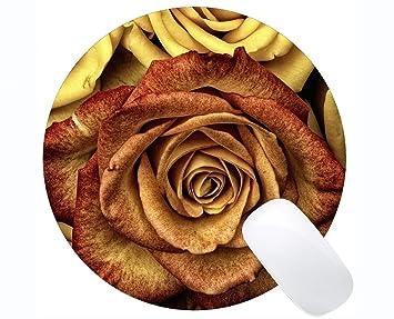 Yanteng Cojín de ratón Redondo del rectángulo, Flores de Las ...