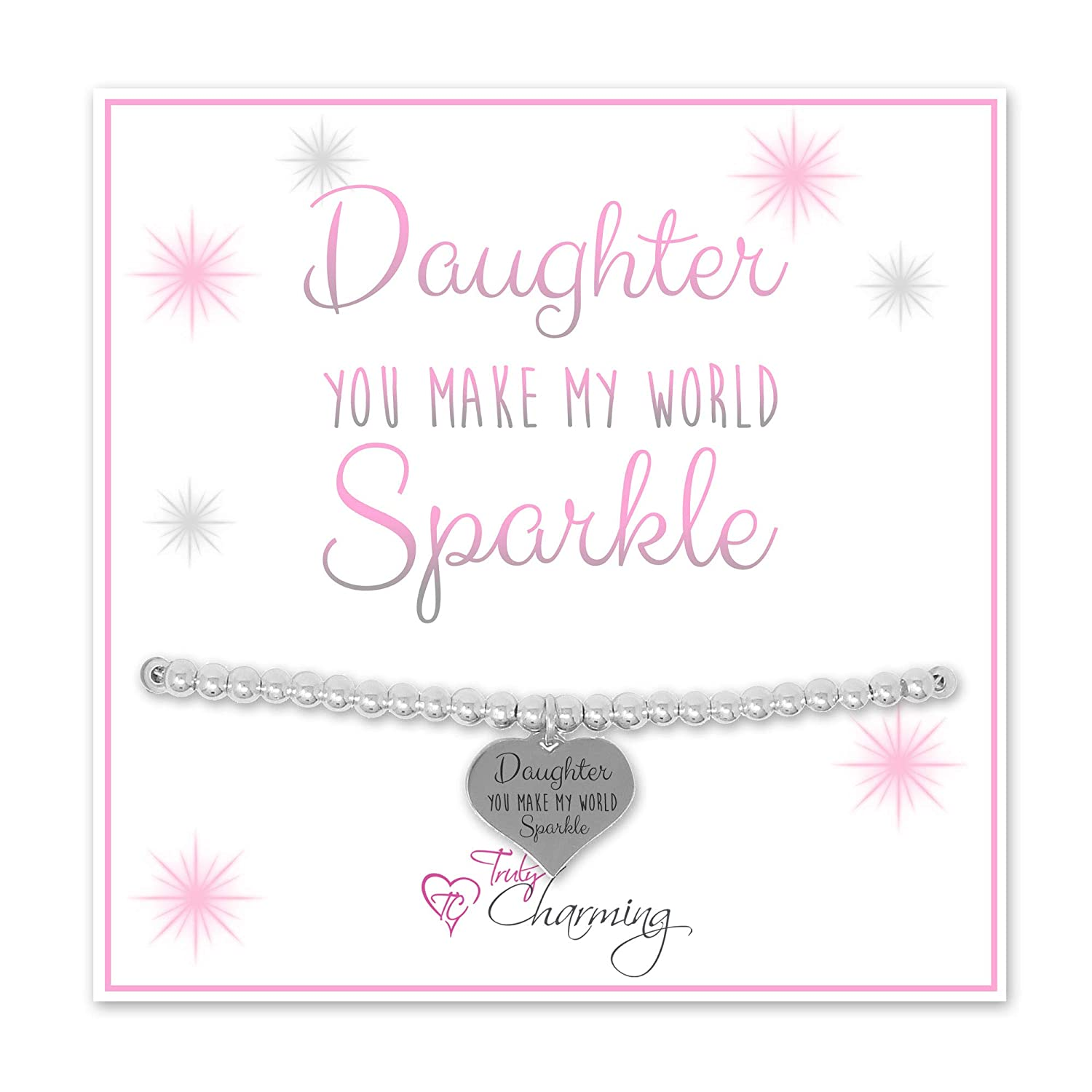 Daughter You Make My World Sparkle Silver Plated Adjustable Bead Bracelet With An Engraved Heart Dangle Mounted On A Stylish Backing Card