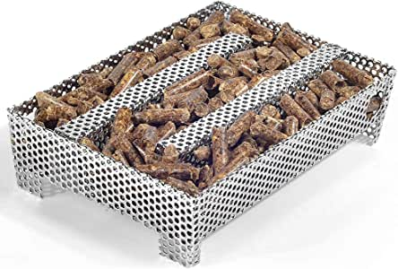 """Buzzlett 12 Hours Pellet Maze Smoker Tray, Perfect for Hot or Cold Meat, Cheese, Fish and Pork Smoking, 5"""" x 8"""""""