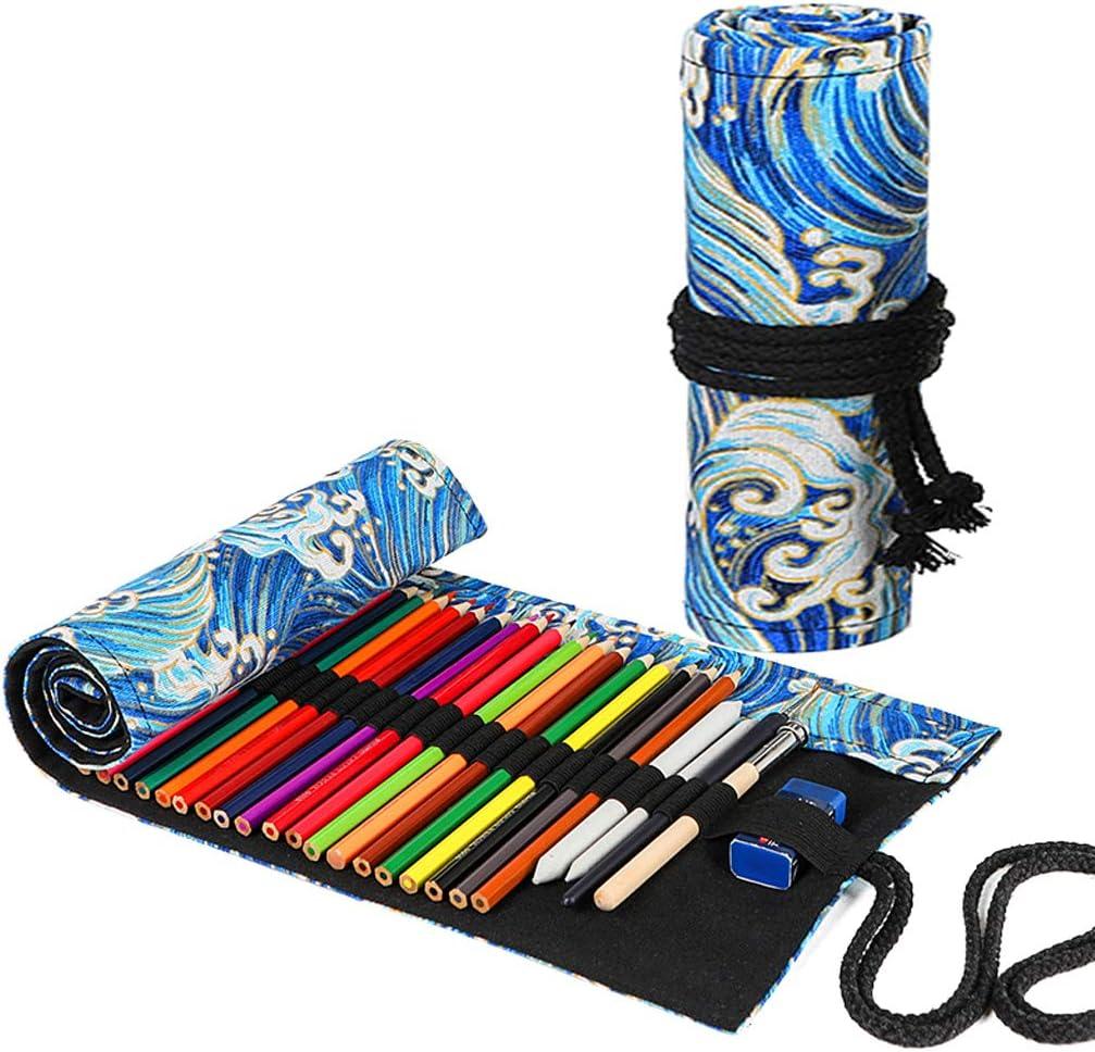 TOYESS - Estuche grande para niños y niñas, con bolsillos triples personalizados con grandes compartimentos para la escuela de papelería, color Ola de Mar