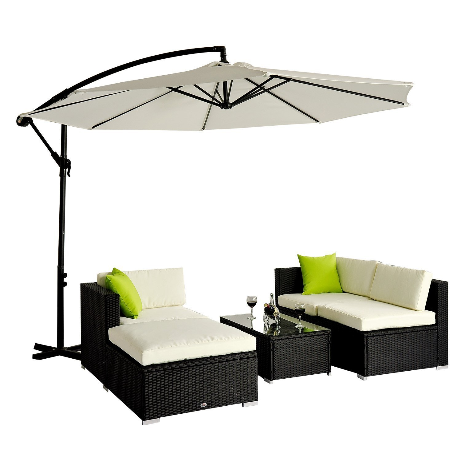 outsunny 5pc rattan wicker conservatory furniture garden corner sofa outdoor patio furniture set black parasol not included amazoncouk garden - Rattan Garden Furniture Tesco