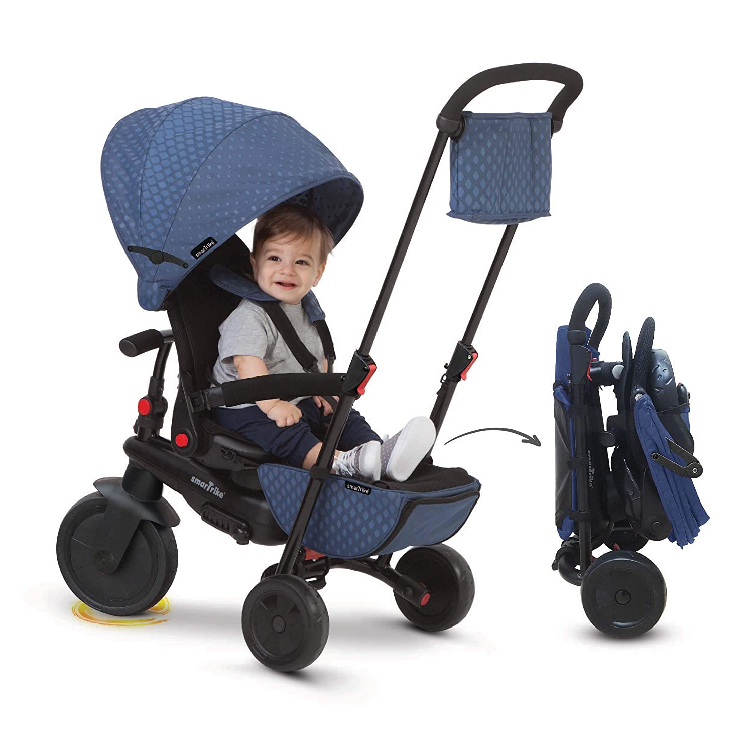 smarTrike smarTfold 700 Folding Baby Tricycle for 1 Year Old Black