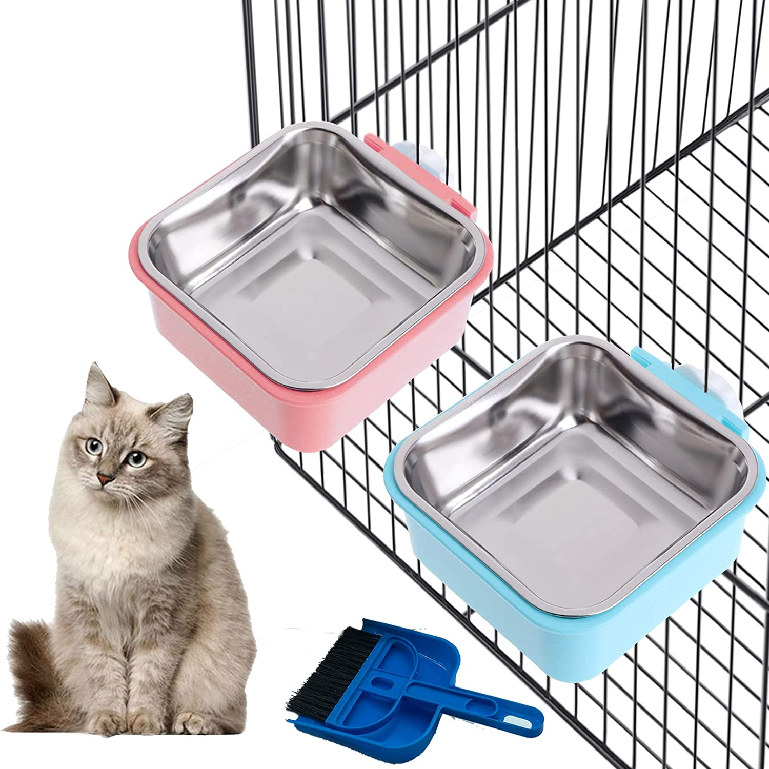 Tfwadmx Cat Food Bowl for Cage,Small Pet Hanging Removable Water Dish Feeding Cup with Holder Small Cleaning Broom Set for Dog Puppy Rabbit Chinchilla Guinea Pig.