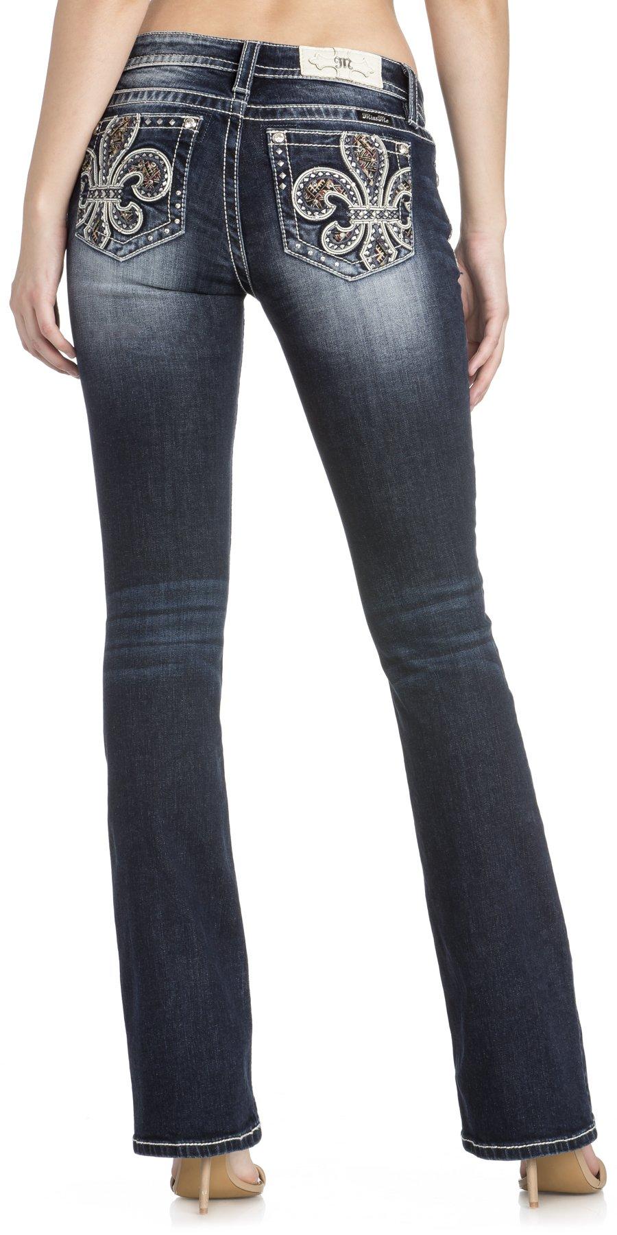 Miss Me Women's Fleur-de-lis Mid-Rise Bootcut Jeans (Dark Blue, 30)