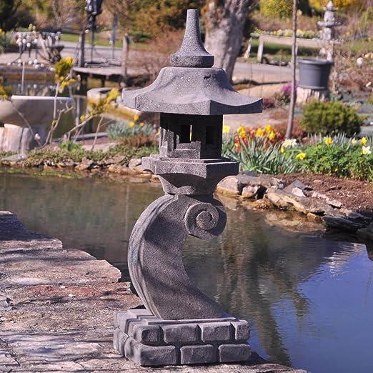 Wanda collection Linterna Japonesa de Piedra de Lava 90 cm lámpara jardín terraza: Amazon.es: Jardín