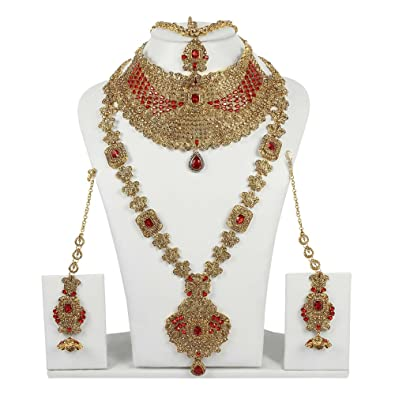 Muchmore Bollywood Fashion Indian Fabulous Bridal Necklace Set Traditional Partywear Jewellery W3IeZfz