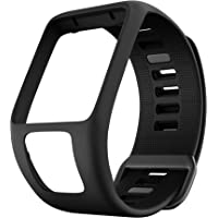 ANCOOL Compatible with Tomtom Spark 3/Runner 2 Watch Bands,Soft Silicone Watch Strap Wristband for Tomtom Runner 2/Runner 3/Spark 3/Golfer 2 Sport GPS Smartwatch-Black
