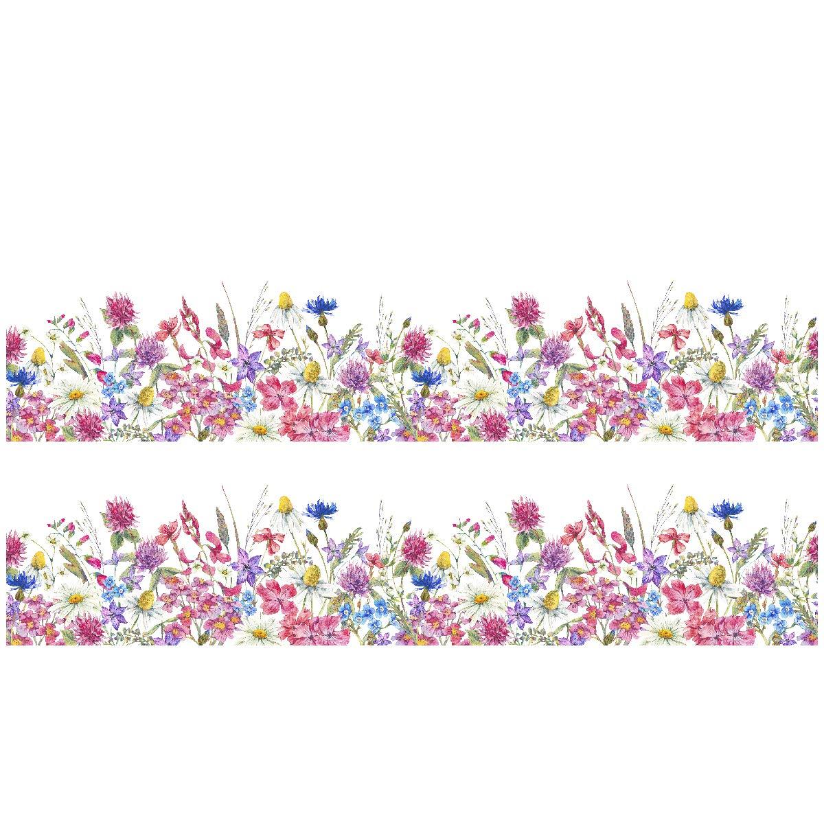 Wandkings Bordüre - Wähle ein Motiv - Aquarell Blumen - 2x selbstklebende Wandbordüren je 100 cm - Gesamtlänge: 200 cm - Höhe: 12, 5 cm