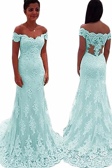 bde072e6ad5 NaXY Frauen Elegant Spitze Brautjungfern Kleider Lang Meerjungfrau  Abendkleider 2018  Amazon.de  Bekleidung