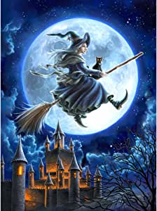 Adarl Full 5D DIY Diamond Painting Rhinestone Pictures of Crystals Embroidery Kits Arts, Crafts & Sewing Cross Stitch (Witch with Castle)