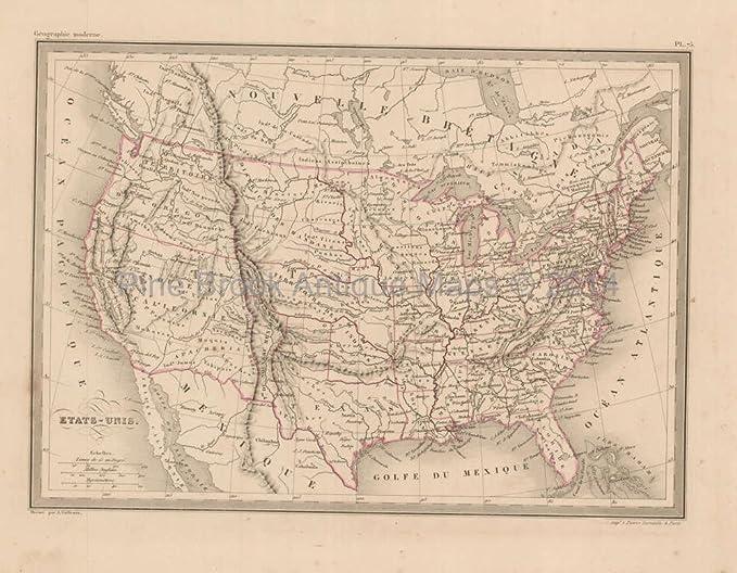 Amazoncom United States Antique Map Malte Brun 1850 Original - 1850-map-of-us