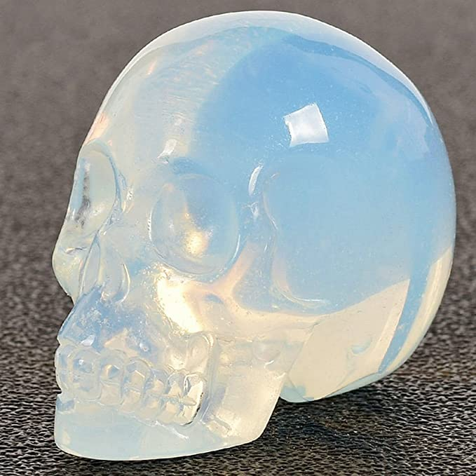 """Amazon.com: Natural Opal Carved Realistic Crystal Skull Sculpture Healing Energy Reiki Gemstone Collectible Figurine Crystal Healing Skull for Home Decoration 2"""": Kitchen & Dining"""