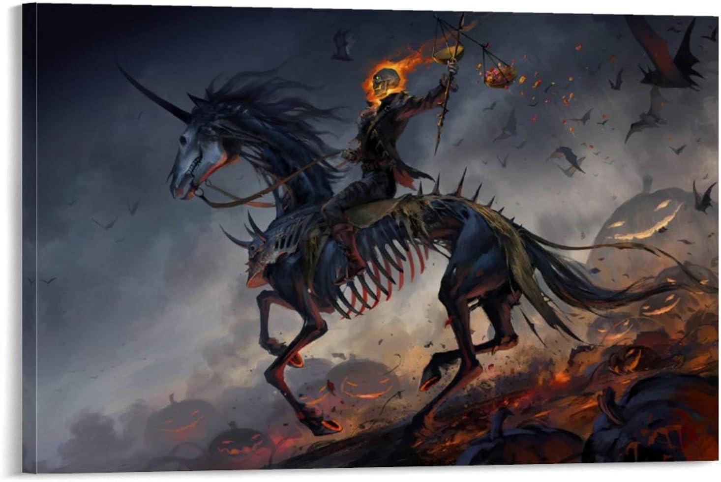 SSKJTC - Cuadro de arte de pared, diseño de esqueleto de Halloween para montar un caballo esqueleto murciélago calabaza, para sala de estar, 50 x 75 cm