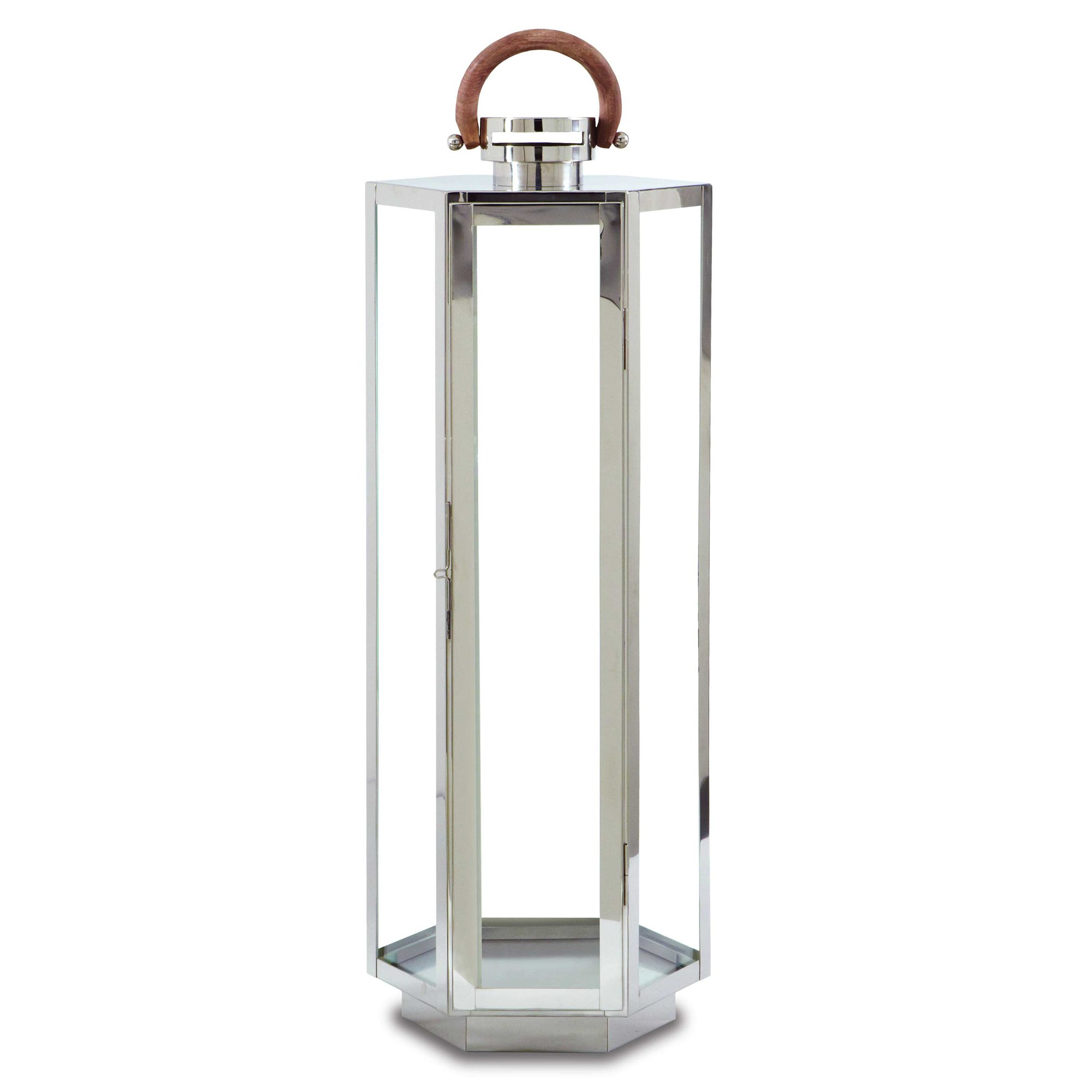 Pilgrim Home and Hearth 17525 Edgewater Tall Candle Lantern, Polished Nickel / Stainless Steel, 10 x 32''