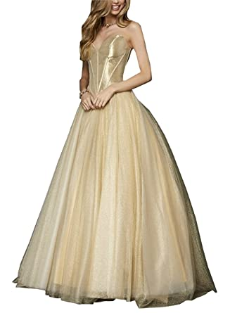Simple Strapless Ball Gowns Prom Dresses Gold Tulle Open Back Formal Gown Wedding Dresses Party 2019 at Amazon Womens Clothing store: