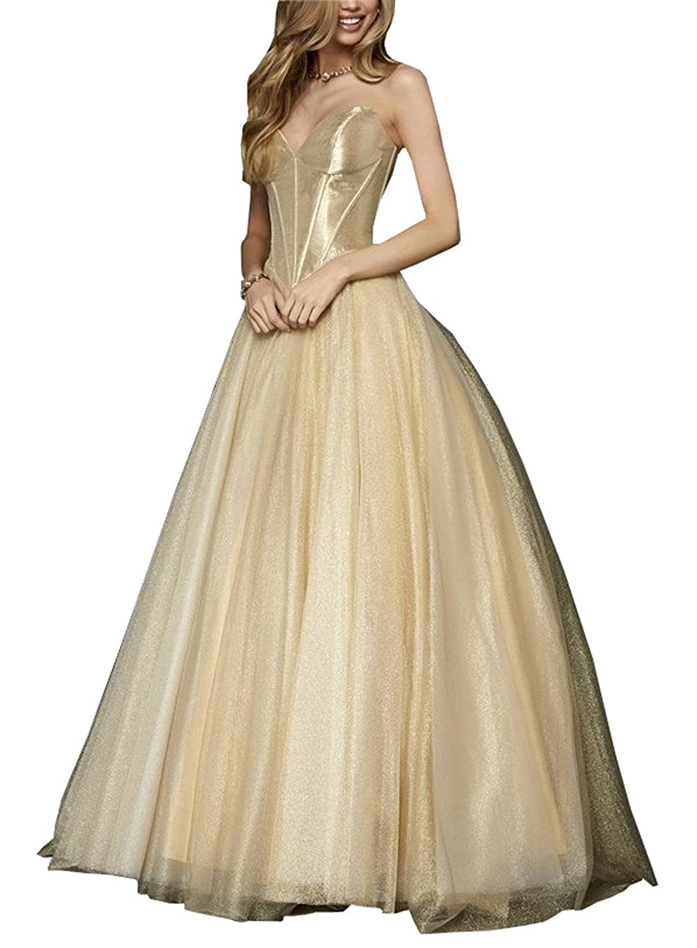 Simple Strapless Ball Gowns Prom Dresses Gold Tulle Open Back Formal
