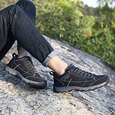 Hiking Shoes Mens Waterproof, Walking Lightweight Outdoor Trekking Summer Low Leather Black Brown Khaki 6.5