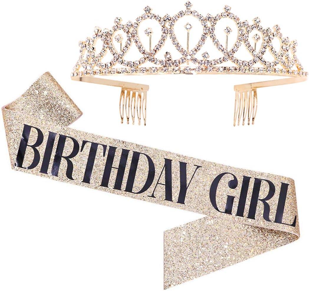 HOWAF Birthday Girl Satin Sash and Tiara Rose Gold Birthday Sash Party Decoration Birthday Girl Rhinestone Crown Headband Party Favour Birthday Gift Birthday Accessories for Girls Woman
