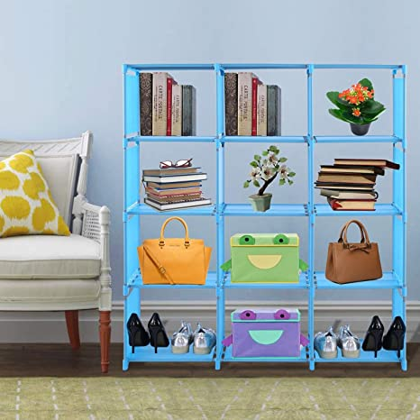 childrens bookshelves non woven adjustable 4 tier storage cube closet organizer with 12 - Childrens Bookshelves