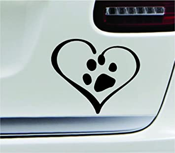 Peace Love Dog I Love My Heart Family Paw Cute Car Decal Window Vinyl Sticker