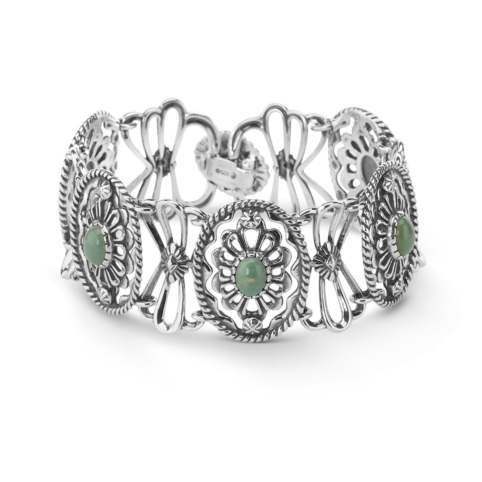 American West Sterling Silver Green Turquoise Concha Design Link Bracelet