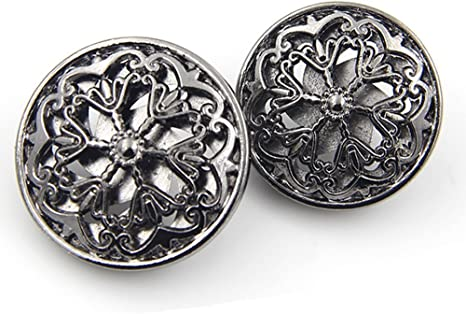 10pcs Silver Hollow Flower Carving Metal Sewing Shank Button Craft DIY Coat 18mm