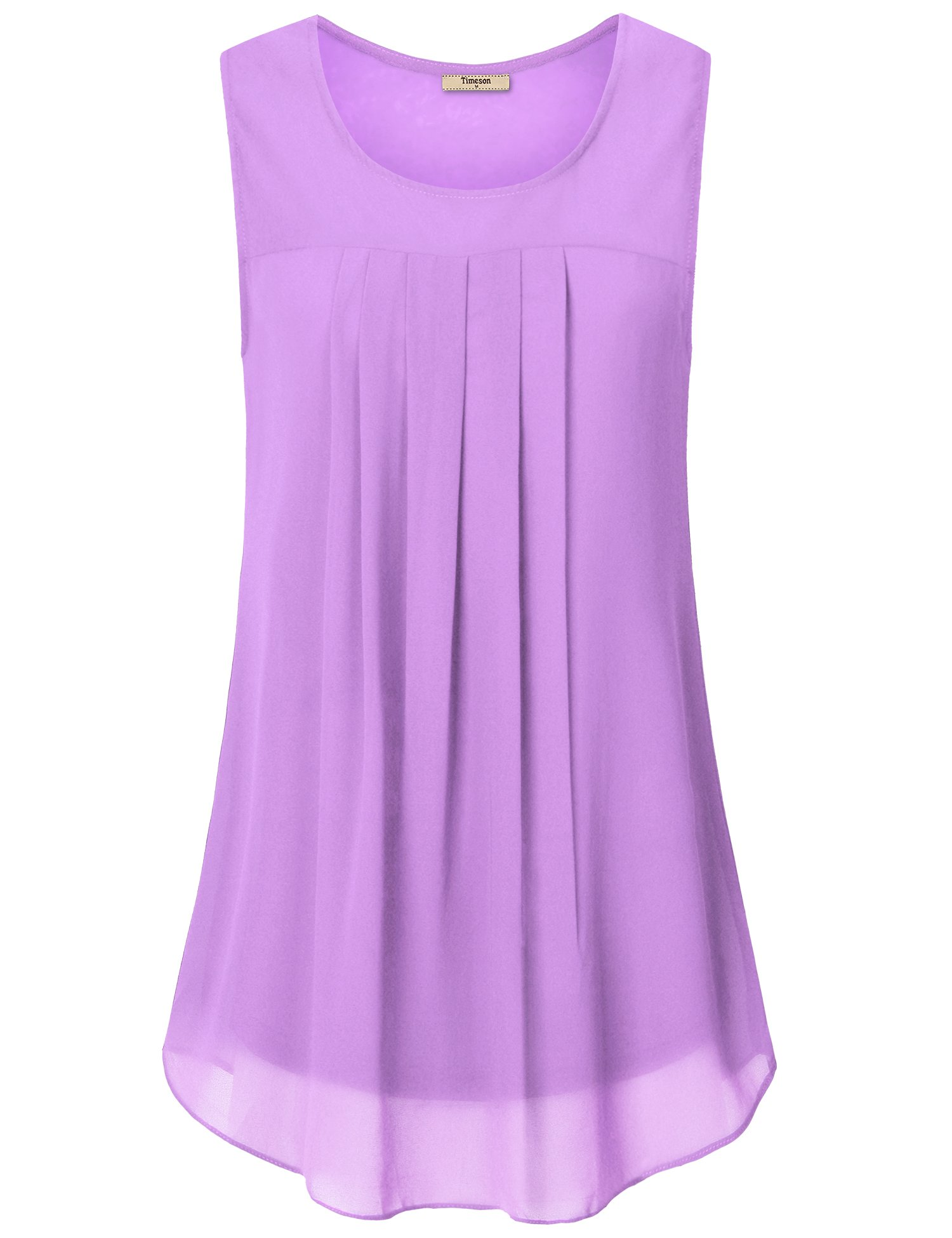 Timeson Loose fit Tank top,Sleeveless Tunics for Women, Womens Casual Tank Top Comfy Sleeveless Tunic Shirt Breathable Lightweight Blouse Top Light Violet X-Large