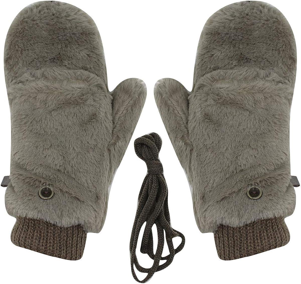 Unisex Winter Fluffy Gloves Mittens Windproof Fleece Plush Gloves with Warm Mitten Cover for Women Girls Boys