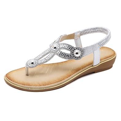 cbf31ce4a843 Zelta Women s Rhinestone Thong Sandals Stretch Slingback Beach Shoes (UK 6