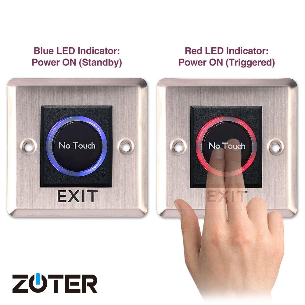 maison bouton de d/éverrouillage sans contact avec capteur infrarouge pour bureau ZOTER Interrupteur de sortie syst/ème de contr/ôle dacc/ès